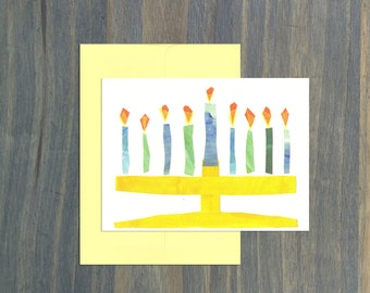 Holiday Card Set, 10 Cards and 10 Envelopes, Light Up the Room Chanukah Cards, Menorah Card, Holiday Cards