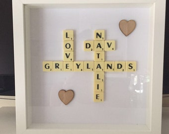 Scrabble Art Personalised Family Picture Frame great present or Gift wall art