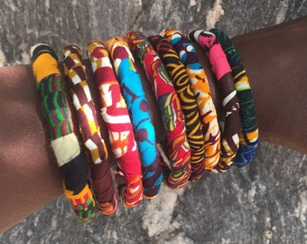 African Fabric Stacking Bracelets