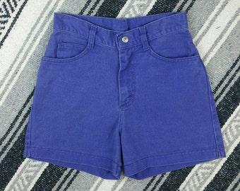 "Vintage 1990s Lee Purple High Waisted Denim Shorts size XS/S (waist 24"")"
