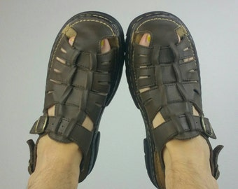 Vintage 1990s Brown Leather Sandals size 8.5/9