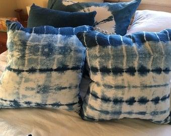 Indigo Blue Shibori Cushion Cover - 50cm X 50cm - Pure linen - yanagi pattern