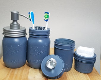 Blue Mason Jar Bathroom Set. Blue Soap Dispenser Jar. 4 Piece Bathroom Set.
