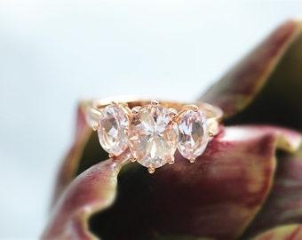 Oval Cut Morganite Diamond Ring In 14K Rose Gold Morganite Engagement Ring Wedding Ring Anniversary Ring