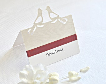 Dove place cards with Burgundy ribbon (set of 20), birds place cards, Marsala place cards, Burgundy place cards, Burgundy placement cards