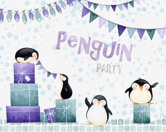 Penguin Party clipart, winter clipart, penguin clipart, digital paper, snow patterns, bunting, winter clip art, card template, present, gift