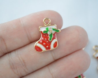 1 Pc Christmas Stocking With Crystal Charms Gold Plated Enamel Charms 17x19mm - C23
