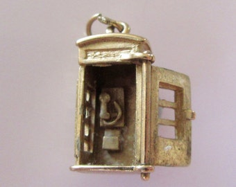 Vintage 9ct Gold Telephone Box Charm Opens