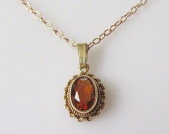 9ct Gold Mandarin Garnet Pendant and Chain