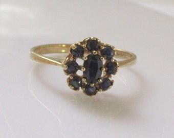 9ct Yellow Gold Dark Sapphire Cluster Ring UK Size Q