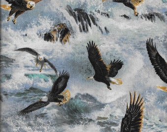"Wild Wings Quest Of The Hunter Eagle Flight by Springs Creative 44"" wide Fabric by the Yard"