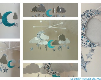Custom - Mobile clouds stars moons blue turquoise Liberty