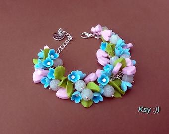 Flower bracelet Pink and blue Hearts bracelet  Polymer bracelet Romantic gift for her Polymer flowers Pink hearts jewelry