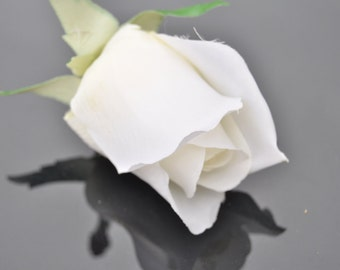 SIngle Closed White Rose, Stemless