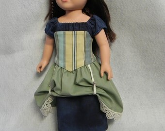 """Steampunk/pirate corset, dress, and skirt for 18"""" doll/American Girl doll"""