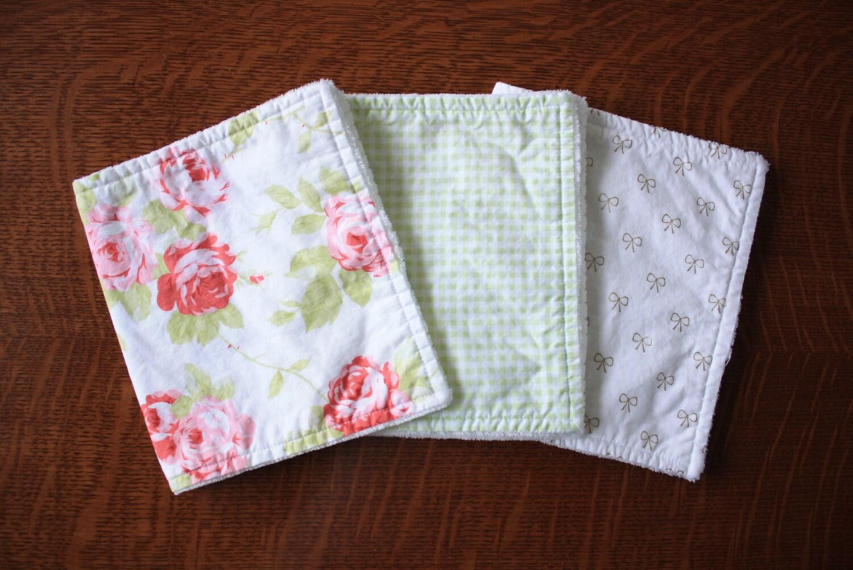 Floral burp cloths Baby girl burp cloths Shabby chic burp
