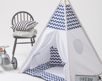 Handmade Teepee Play tent for Kids in Natural Cotton Canvas, Teepee Kids Play Tent Tipi Zelt Canvas Wigwam by Wigiwama