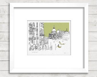 Venice Grand Canal, Italy Doodle Print