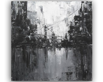 Original Acrylic Painting Black and White Abstract Painting Landscape Painting On Canvas Modern Abstract Cityscape Art Square Wall Art 12x12