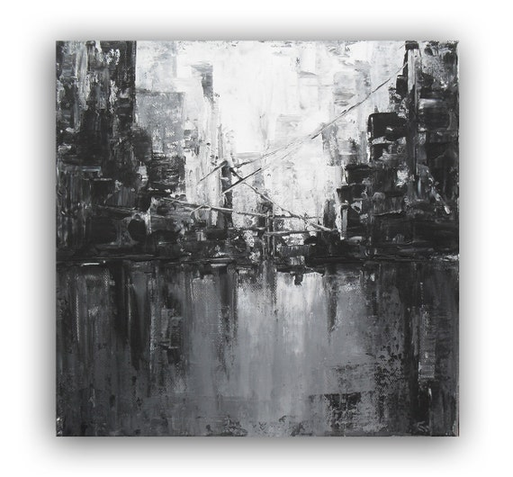 Original acrylic painting black and white abstract painting for Black white canvas paintings