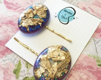 Goldluxx Glitter Resin and Gold Leaf Hair Pins in Cosmic Purple