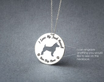 Personalised DISC JACK RUSSELL Necklace / Circle dog breed Necklace / Jack Russell Dog necklace / Silver, Gold Plated or Rose Plated.