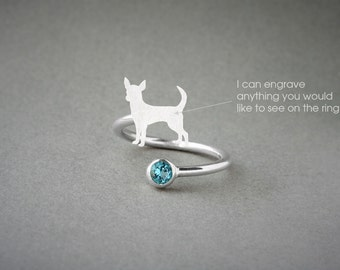 Adjustable Spiral CHIHUAHUA BIRTHSTONE Ring / Chihuahua Birthstone Ring / Birthstone Ring / Dog Ring / Silver, Gold Plated or Rose Plated.