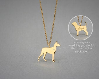 14K Solid GOLD Tiny DOBERMAN PINSCHER Name Necklace - Doberman Necklace -Gold Dog Necklace - 14K Gold or Rose Plated on 14k Gold Necklace