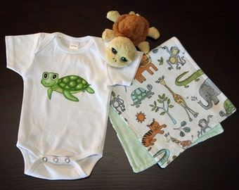 Baby Onesie and Burp Cloth Gift Set (1 Onesie, 1 Burp Cloth)