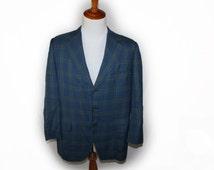 Vintage mens Blazer 60's-70's mens Ivy Summer Lite weight Style Sport Coat  plaid blazer Suit jacket Check Funky Retro Mod 44 R