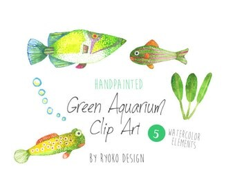 Watercolor clip art, Tropical Fish, Fish Clipart, Summer clip art, Scrapbooking
