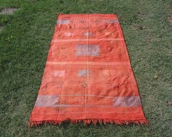 Silky Moroccan Kilim Rug Orange Color Maroc kilim