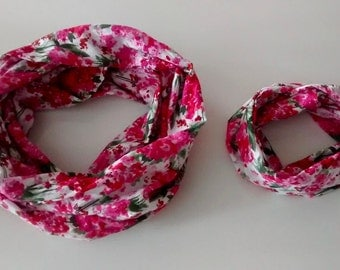 MOM and me duo infinity scarf - Floral pink