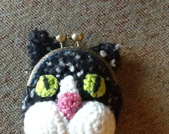 Black and White Kitty Coin Purse