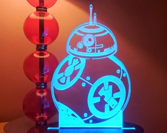 Star Wars Lamp BB-8 Droid inspired LED Lamp Episode 7 The Force Awakens Hologram BB8 Color Changing LED Light, Nightlight, Remote Control