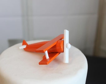 Airplane Cake Topper, Wood Toy Plane, Orange and White, Smash the Cake, overthetopcaketopper