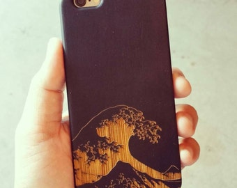 Hand Sketched Photo of Great Wave off Kanagawa Engraved on Genuine Wood Cell phone Case for iPhone 5/S 6/S and iPhone 6 plus IP-048