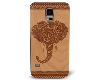 Laser Engraved Hand Drawn Tribal Aztec Elephant with Leafy Paisley Pattern on Genuine Wood phone Case for Galaxy S5, S6 and S6Edge S-019