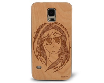 Laser Engraved Japanese Anime Manga with Doodle and Zentangle inspired pattern on Genuine Wood phone Case for Galaxy S5, S6 and S6Edge S-034