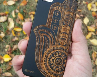 Laser Engraved Hand Drawn Hamsa Fatima Hand Aztec with Om Leafy Mandala and Evil Eye on Wood phone Case for iPhone 5/S, 6/S and 6+  IP-051