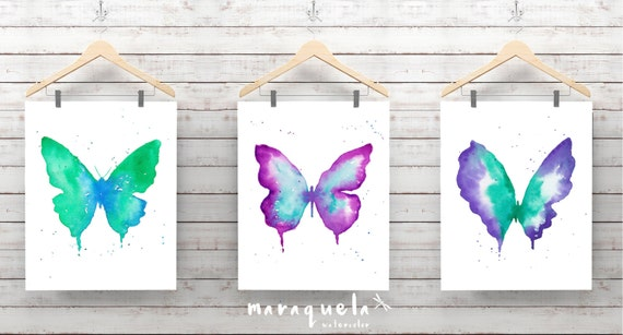 DISCOUNT 3 Butterflies SET Blue, violet and green hues. Watercolor painting set, bedroom decoration, living room, gifts art woman, butterfly