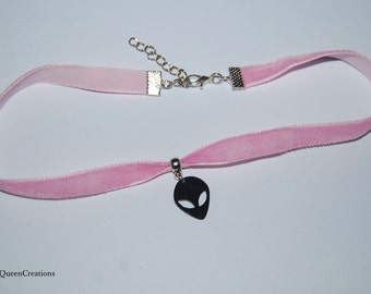Breast Cancer Awareness Month Pastel Pink Velvet Choker Alien Necklace
