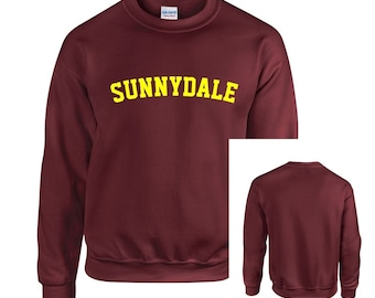 Maroon Sunnydale Buffy Style SHS Adult Unisex Crew Neck Sweatshirt With Print on Front Only High