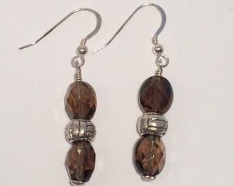 Healing Smoky quartz and silver earrings