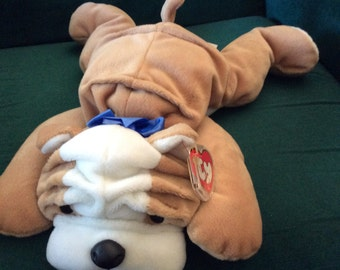 Ty Pillow Pal Bruiser Bulldog with tag and protector