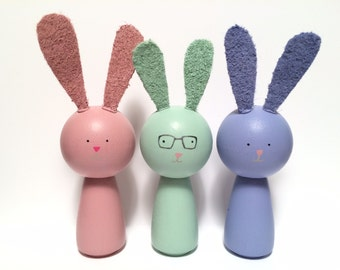 Pastel Wooden Easter Bunny and Friends with Glasses Kokeshi Peg Doll