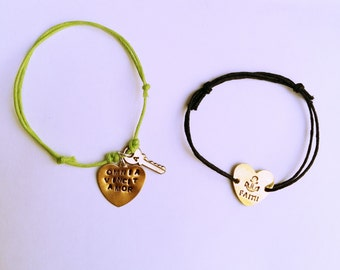 Custom engraved brass heart bracelet
