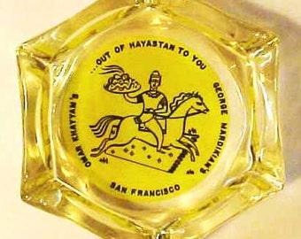 advertising ashtray San Francisco, Ca. - OMAR KHAYYAM'S restaurant, lounge - glass , 1950's, 1960's