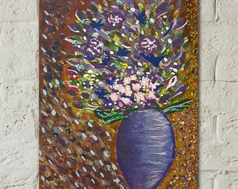 Flowers in Vase Painting- Original Art- Acrylic Painting- Unframed Painting- Purple Art - Floral Painting- Pink Flower Art - Wall Art