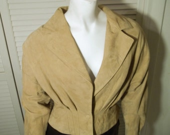 Vintage Camel Colored Finely Tailored Suede Blousson Jacket by Bergdorf Goodman Size XS